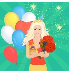 Smiling pretty blond girl holding gift box and vector