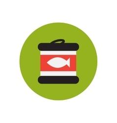 Stylish icon in circle canned tuna fish vector