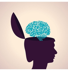 Thinking concept-Human head with brain vector image