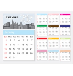 Calendar 2017 template design on urban scene vector