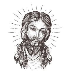 Hand-drawn portrait of jesus christ sketch vector