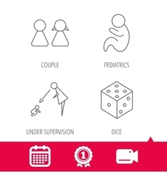 Couple paediatrics and dice icons vector image
