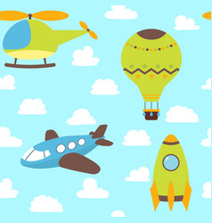 cute children seamless pattern with plane vector image