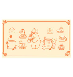 Woodland animals and decor elements set vector