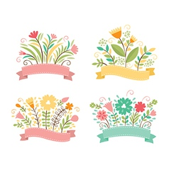 Set of floral bouquets and romantic frames vector