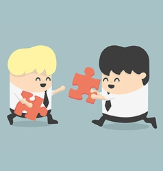 Business people and puzzles vector