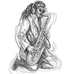 Musician - sax player vector