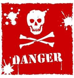 Danger icon red and white vector