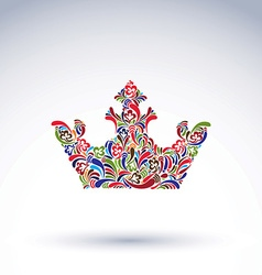 Colorful flower-patterned crown coronation design vector