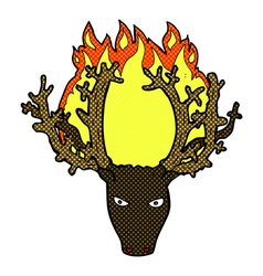 Comic cartoon stag head fire symbol vector