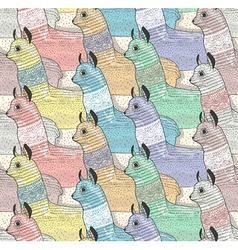 Seamless pattern with cute lamas vector