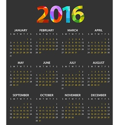 2016 year color calendar template vector