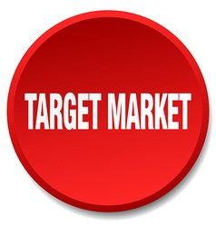 Target market red round flat isolated push button vector