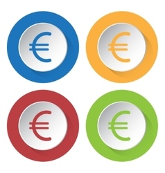Set of four icons - euro currency symbol vector