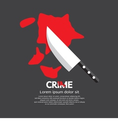 Bloody knife crime concept vector