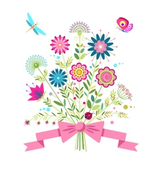 a bouquet of flowers butterfly dragonfly and ladyb vector image vector image