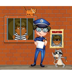 A policeman holding a pen and a paper with two vector image vector image