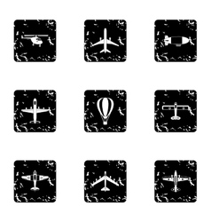 Army planes icons set grunge style vector