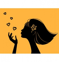 beautiful woman silhouette with heart vector image