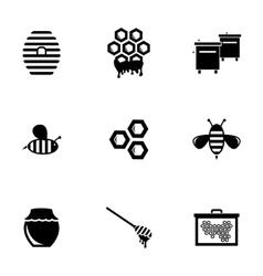 black honey icons set vector image vector image