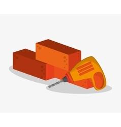 Bricks and drill of under construction design vector