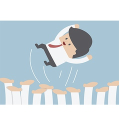 Businessman being throwing up by his team Success vector image vector image