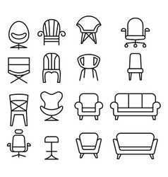 Chair icon set in thin line style vector