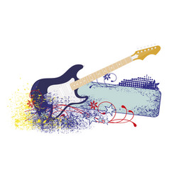 electric guitar with strings vector image vector image