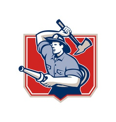 Fireman Firefighter Wielding Fire Axe vector image vector image