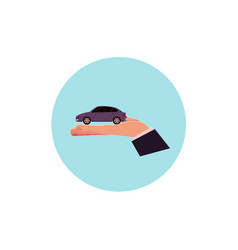 flat hand holding car icon vector image