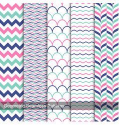 Geometric seamless patterns in memphis colors vector