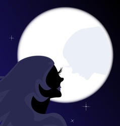 girl and moon vector image vector image