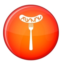 Grilled sausage on a fork mustard icon flat style vector