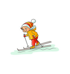 Happy little boy in warm clothes skiing downhill vector