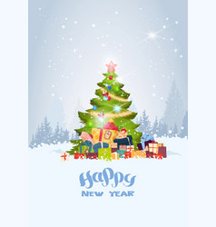 holiday greeting card christmas tree over snowy vector image