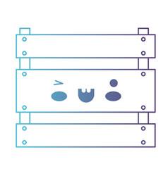 kawaii wooden basket in degraded blue to purple vector image vector image