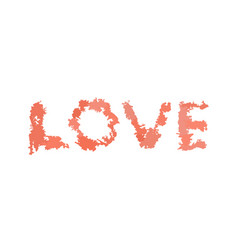 Love lettering from watercolor blurs isolated vector