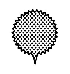 Monochrome circular speech with sawtooth contour vector