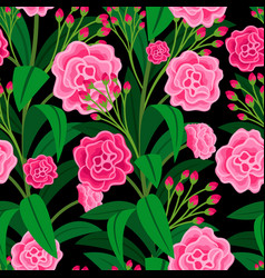 pink flowers with green leaves pattern vector image vector image