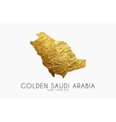 Saudi arab map Golden Saudi Arab logo Creative vector image