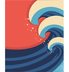 Sea waves poster of sea landscape vector image vector image