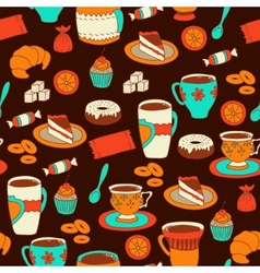 Seamless coffee and tea pattern with sweets vector image