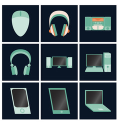 Set icons in flat design electronic gadgets vector