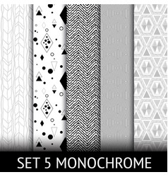 Set of 5 different geometric monochrome seamless vector