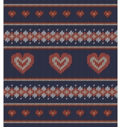 Striped pattern with red hearts on blue background vector image vector image