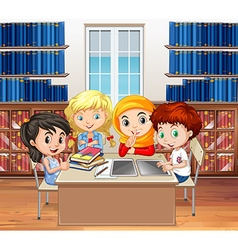 Students reading books in the library vector