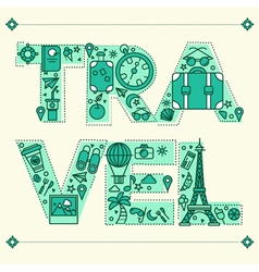 Time to travel retro lettering with outline style vector