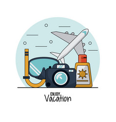 White background of enjoy vacation with snorkel vector