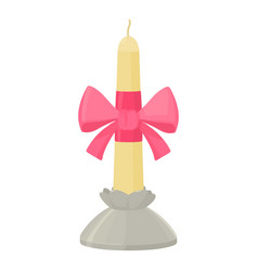 white candle with pink bow in candlestick icon vector image