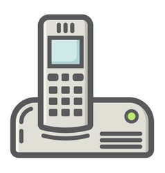 Wireless telephone colorful line icon household vector